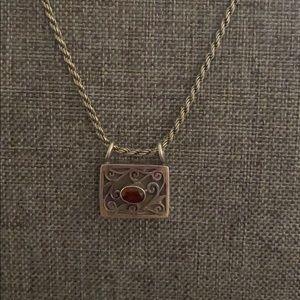 Jewelry - Sterling silver garnet stone vintage necklace